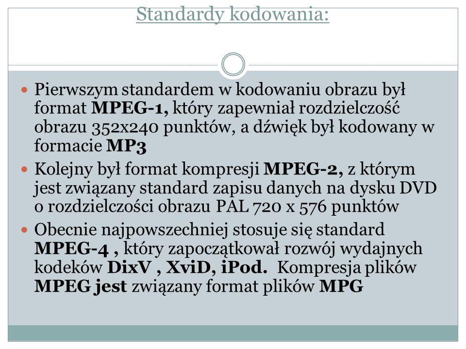 Standardy kodowania: Pierwszym standardem w kodowaniu obrazu był format MPEG-1, który zapewniał rozdzielczość obrazu 352x240 punktów, a dźwięk był kod