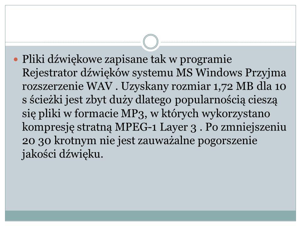 Pliki dźwiękowe zapisane tak w programie Rejestrator dźwięków systemu MS Windows Przyjma rozszerzenie WAV. Uzyskany rozmiar 1,72 MB dla 10 s ścieżki j