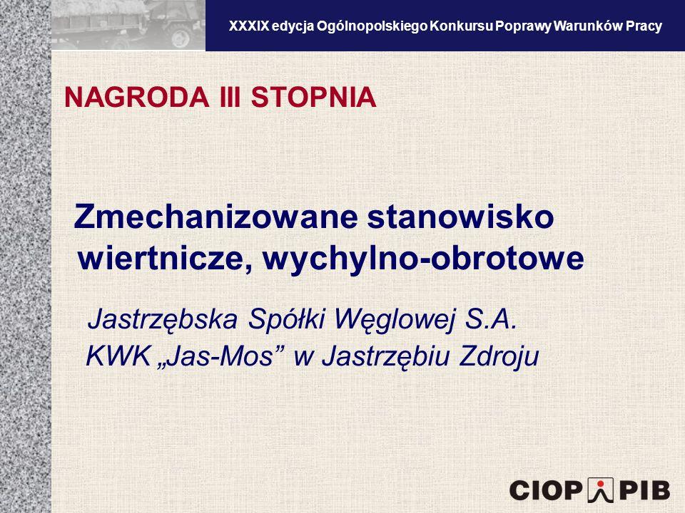 XXXV edycja Ogólnopolskiego Konkursu Poprawy Warunków Pracy Zmechanizowane stanowisko wiertnicze, wychylno-obrotowe Jastrzębska Spółki Węglowej S.A.