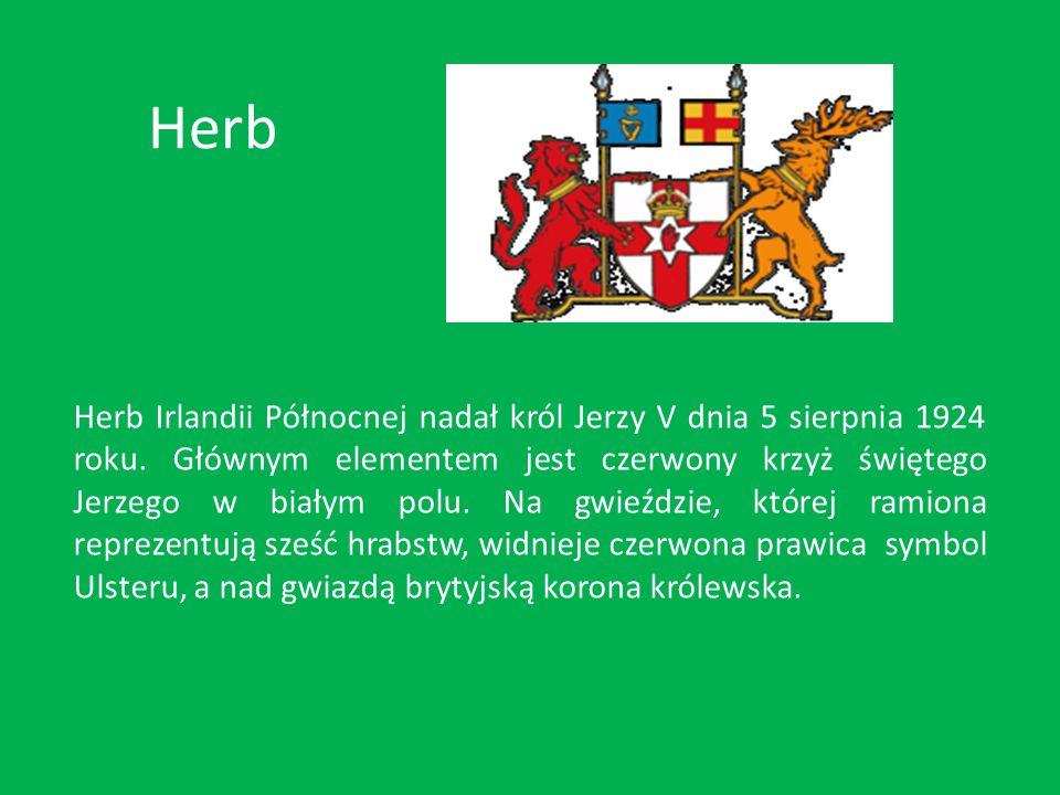 Herb Herb Irlandii Północnej nadał król Jerzy V dnia 5 sierpnia 1924 roku. Głównym elementem jest czerwony krzyż świętego Jerzego w białym polu. Na gw