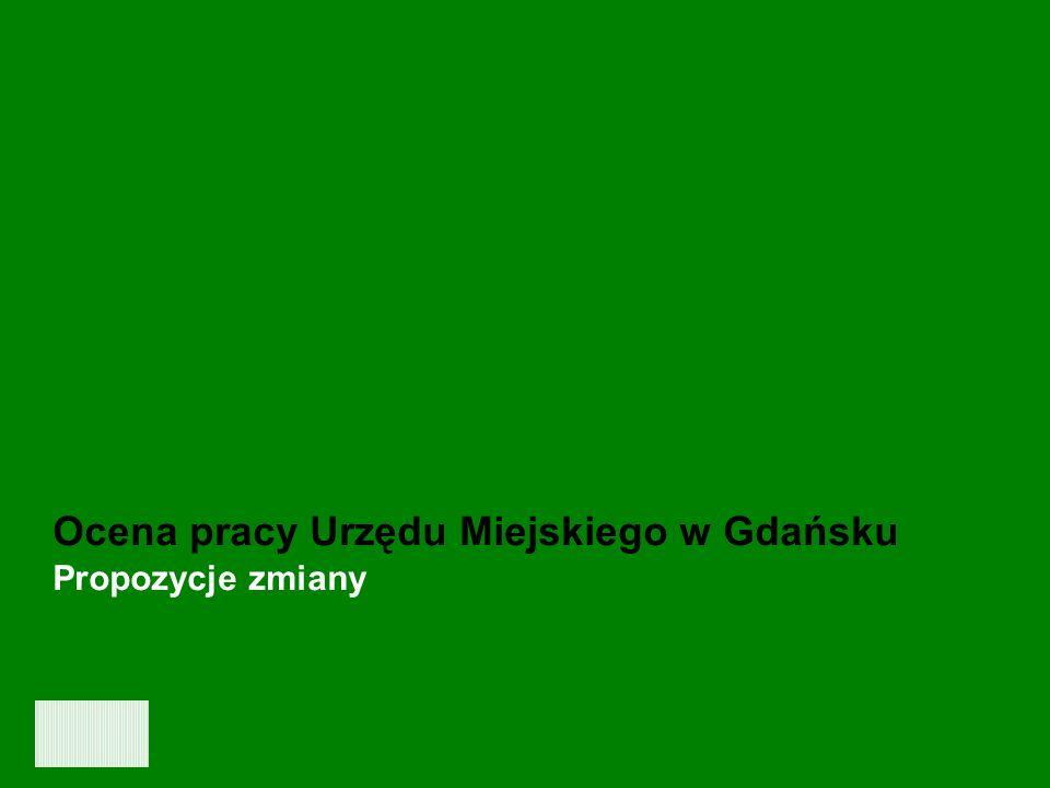 Ocena jakości pracy oraz obsługi klientów Urzędu Miejskiego w Gdańsku - GRUDZIEŃ 2006 26 Ocena pracy Urzędu Miejskiego w Gdańsku Propozycje zmiany