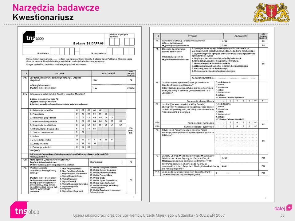 Ocena jakości pracy oraz obsługi klientów Urzędu Miejskiego w Gdańsku - GRUDZIEŃ 2006 33 Narzędzia badawcze Kwestionariusz dalej
