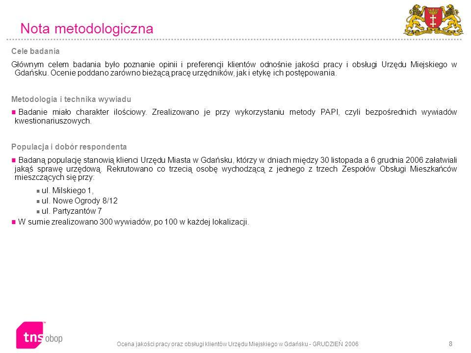Ocena jakości pracy oraz obsługi klientów Urzędu Miejskiego w Gdańsku - GRUDZIEŃ 2006 8 Nota metodologiczna Cele badania Głównym celem badania było poznanie opinii i preferencji klientów odnośnie jakości pracy i obsługi Urzędu Miejskiego w Gdańsku.