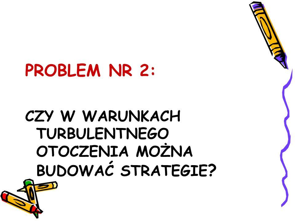 PROBLEM NR 2: CZY W WARUNKACH TURBULENTNEGO OTOCZENIA MOŻNA BUDOWAĆ STRATEGIE ?