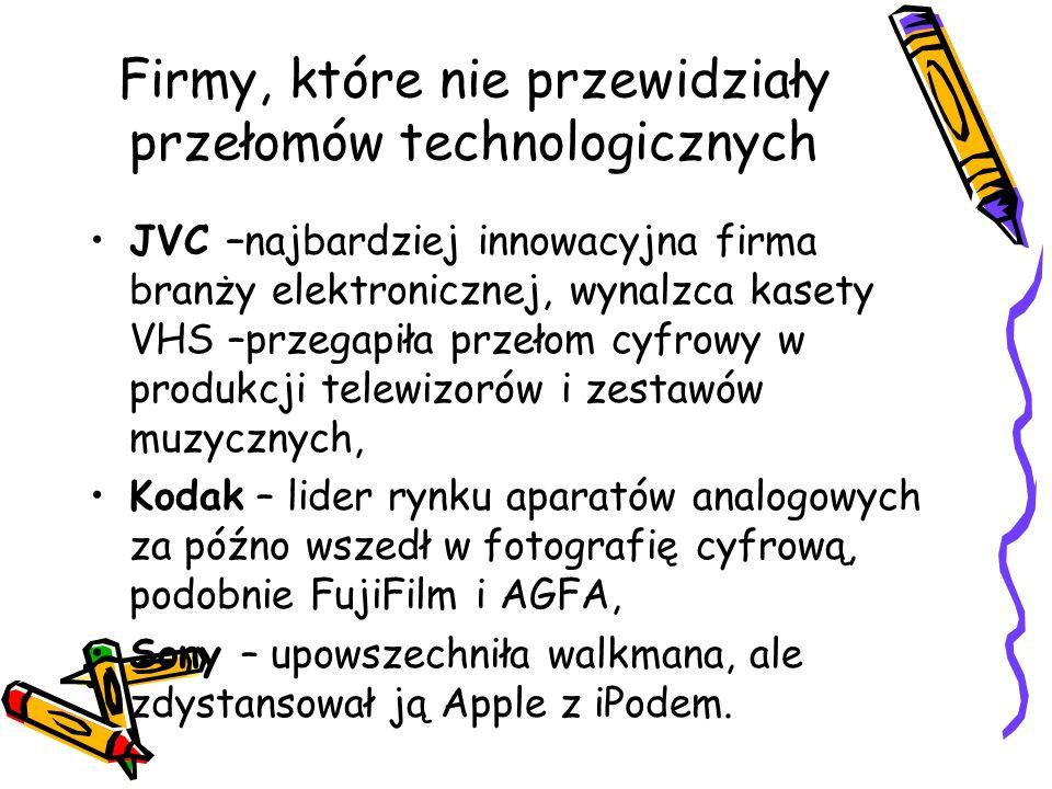 Firmy, które nie przewidziały przełomów technologicznych JVC –najbardziej innowacyjna firma branży elektronicznej, wynalzca kasety VHS –przegapiła przełom cyfrowy w produkcji telewizorów i zestawów muzycznych, Kodak – lider rynku aparatów analogowych za późno wszedł w fotografię cyfrową, podobnie FujiFilm i AGFA, Sony – upowszechniła walkmana, ale zdystansował ją Apple z iPodem.