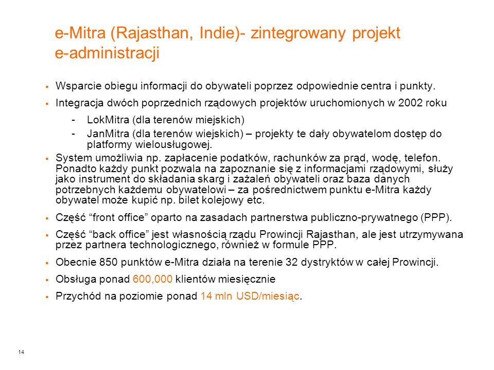 14 e-Mitra (Rajasthan, Indie)- zintegrowany projekt e-administracji  Wsparcie obiegu informacji do obywateli poprzez odpowiednie centra i punkty.
