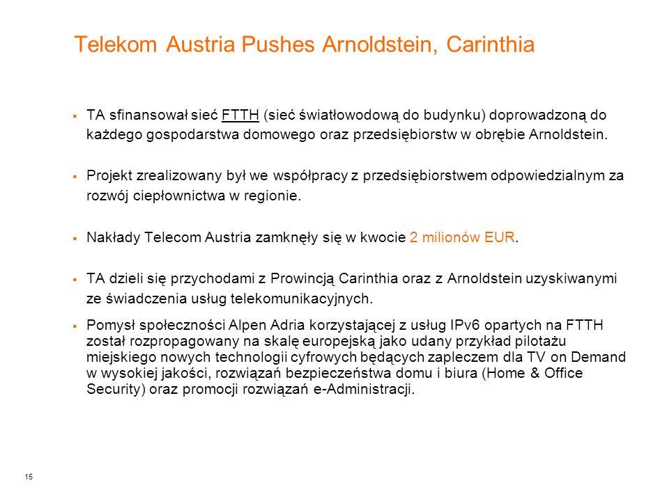 15 Telekom Austria Pushes Arnoldstein, Carinthia  TA sfinansował sieć FTTH (sieć światłowodową do budynku) doprowadzoną do każdego gospodarstwa domowego oraz przedsiębiorstw w obrębie Arnoldstein.