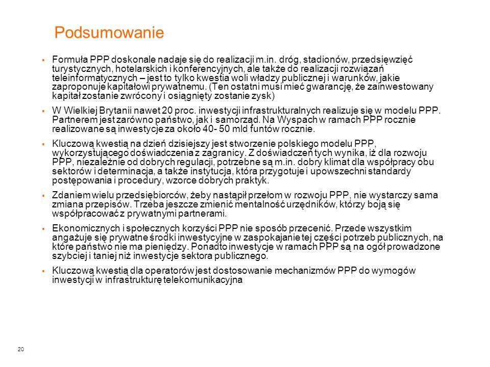 20 Podsumowanie  Formuła PPP doskonale nadaje się do realizacji m.in.