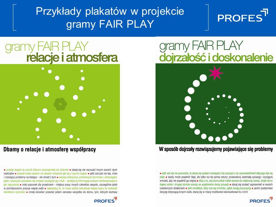 Przykłady plakatów w projekcie gramy FAIR PLAY