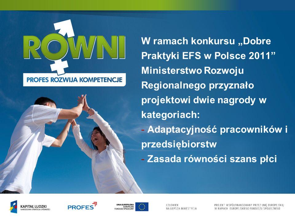 """W ramach konkursu """"Dobre Praktyki EFS w Polsce 2011 Ministerstwo Rozwoju Regionalnego przyznało projektowi dwie nagrody w kategoriach: - Adaptacyjność pracowników i przedsiębiorstw - Zasada równości szans płci"""