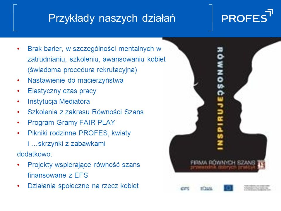 Przykłady naszych działań Brak barier, w szczególności mentalnych w zatrudnianiu, szkoleniu, awansowaniu kobiet (świadoma procedura rekrutacyjna) Nastawienie do macierzyństwa Elastyczny czas pracy Instytucja Mediatora Szkolenia z zakresu Równości Szans Program Gramy FAIR PLAY Pikniki rodzinne PROFES, kwiaty i …skrzynki z zabawkami dodatkowo: Projekty wspierające równość szans finansowane z EFS Działania społeczne na rzecz kobiet