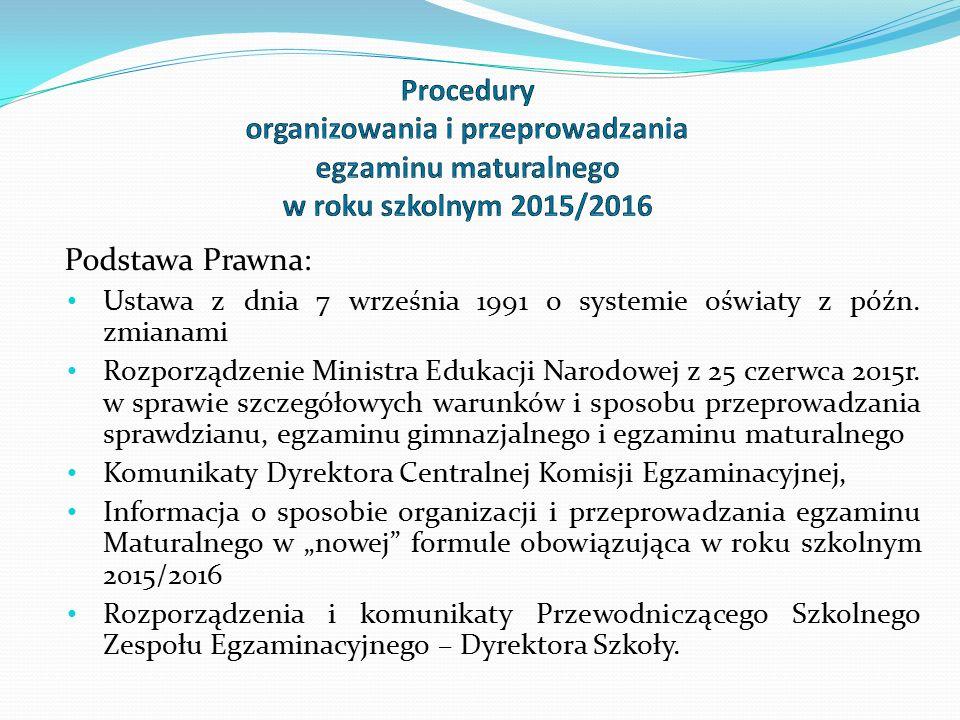 Informacje o egzaminie maturalnym Powyższe przepisy prawne znajdują się odpowiednio na stronach internetowych: www.cke.edu.pl www.oke.krakow.pl www.men.gov.pl www.zskocjan.pl W szkole: na tablicach ogłoszeń