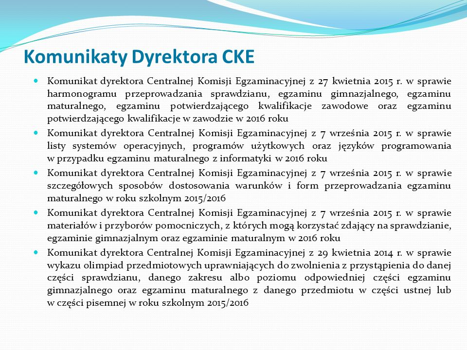 Egzamin z języka polskiego Zdający, po okazaniu dokumentu tożsamości, wchodzi do sali egzaminacyjnej wg kolejności ustalonej w harmonogramie, w sali może przebywać dwóch zdających – jeden przygotowujący się do egzaminu i drugi udzielający odpowiedzi, zdający losuje zadanie egzaminacyjne – kartkę z numerem zadania i hasłem, informację o wylosowanym numerze zadania przekazuje członkom PZE, zdający otrzymuje czyste kartki, opieczętowane pieczęcią szkoły, do sporządzenia notatek pomocniczych, konspektu lub ramowego planu wypowiedzi, zdający zajmuje miejsce przy stoliku dla osoby przygotowującej się do egzaminu i za pomocą hasła otwiera plik zawierający wylosowane zadanie, zdający może wydrukować zadanie egzaminacyjne, na wydruku nie można robić żadnych notatek,