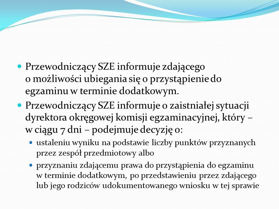 Przewodniczący SZE informuje zdającego o możliwości ubiegania się o przystąpienie do egzaminu w terminie dodatkowym.