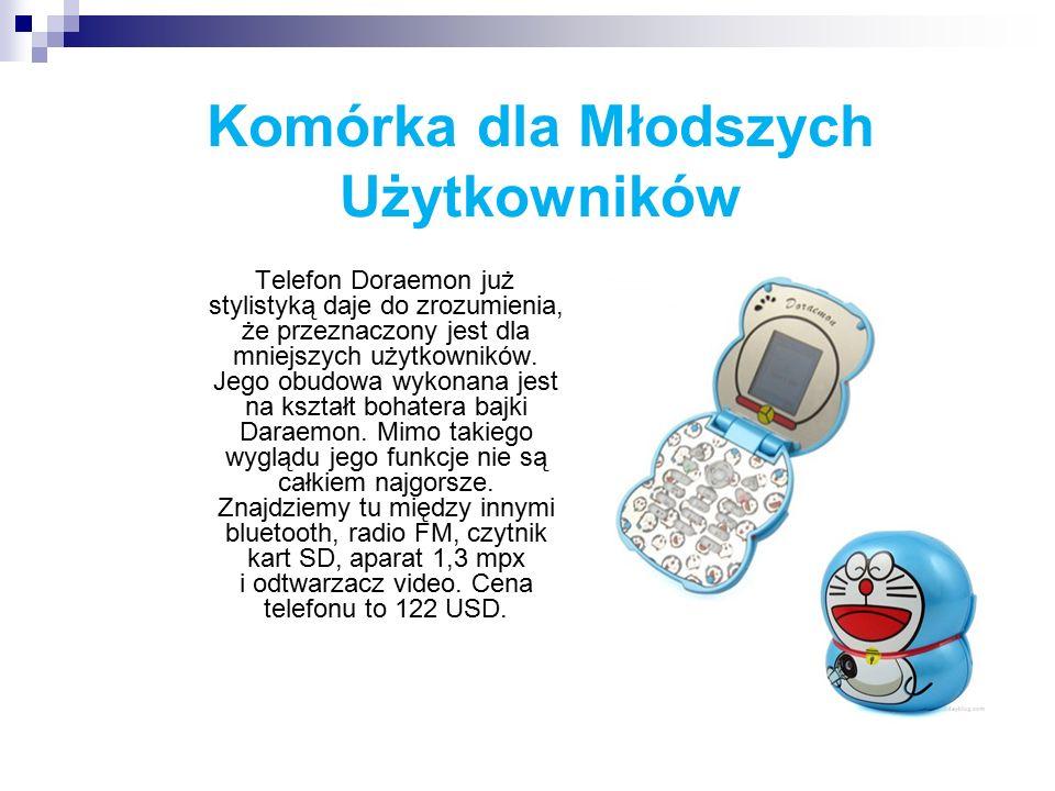 Komórka dla Młodszych Użytkowników Telefon Doraemon już stylistyką daje do zrozumienia, że przeznaczony jest dla mniejszych użytkowników.