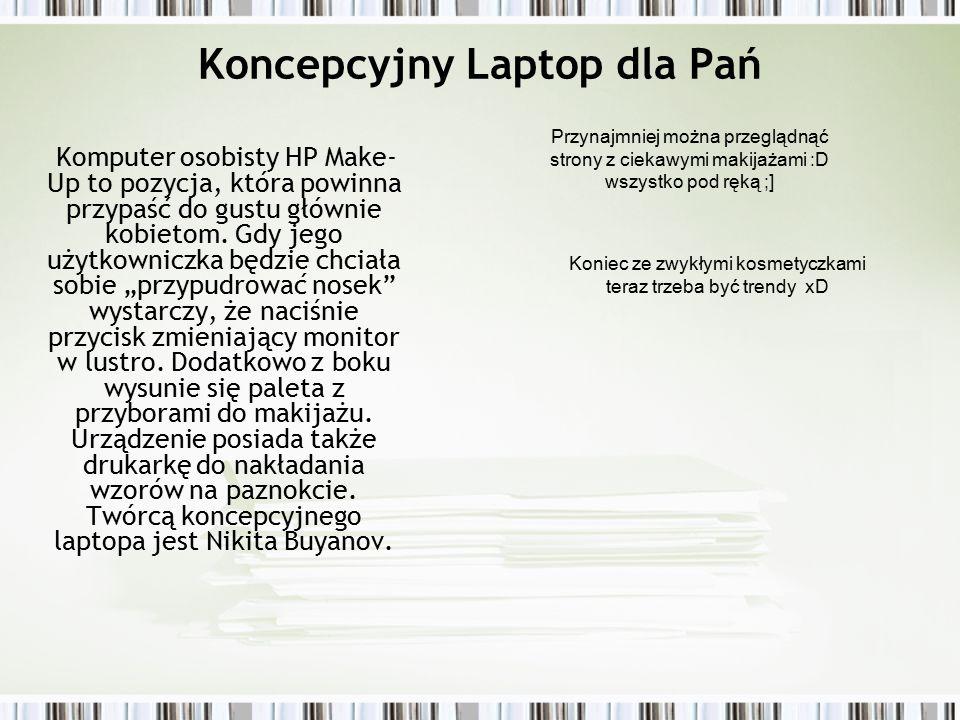 Koncepcyjny Laptop dla Pań Komputer osobisty HP Make- Up to pozycja, która powinna przypaść do gustu głównie kobietom.