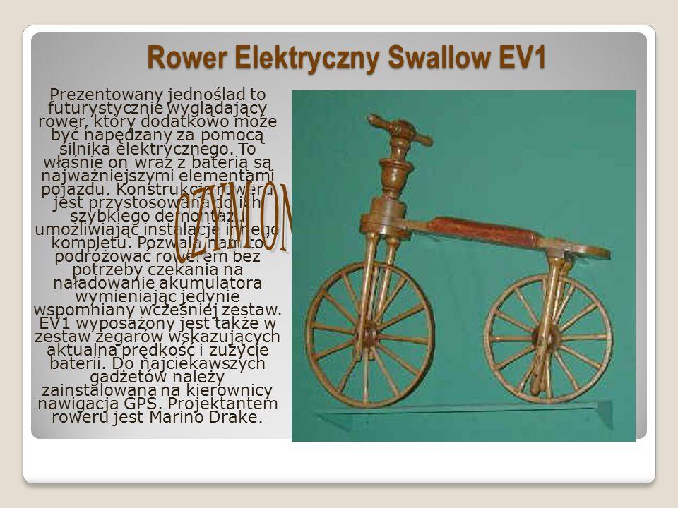 Rower Elektryczny Swallow EV1 Prezentowany jednoślad to futurystycznie wyglądający rower, który dodatkowo może być napędzany za pomocą silnika elektrycznego.