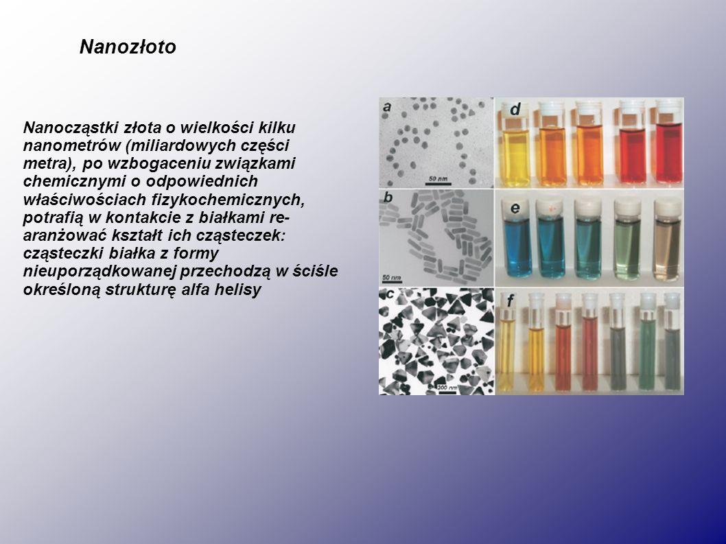 Nanozłoto Nanocząstki złota o wielkości kilku nanometrów (miliardowych części metra), po wzbogaceniu związkami chemicznymi o odpowiednich właściwościach fizykochemicznych, potrafią w kontakcie z białkami re- aranżować kształt ich cząsteczek: cząsteczki białka z formy nieuporządkowanej przechodzą w ściśle określoną strukturę alfa helisy