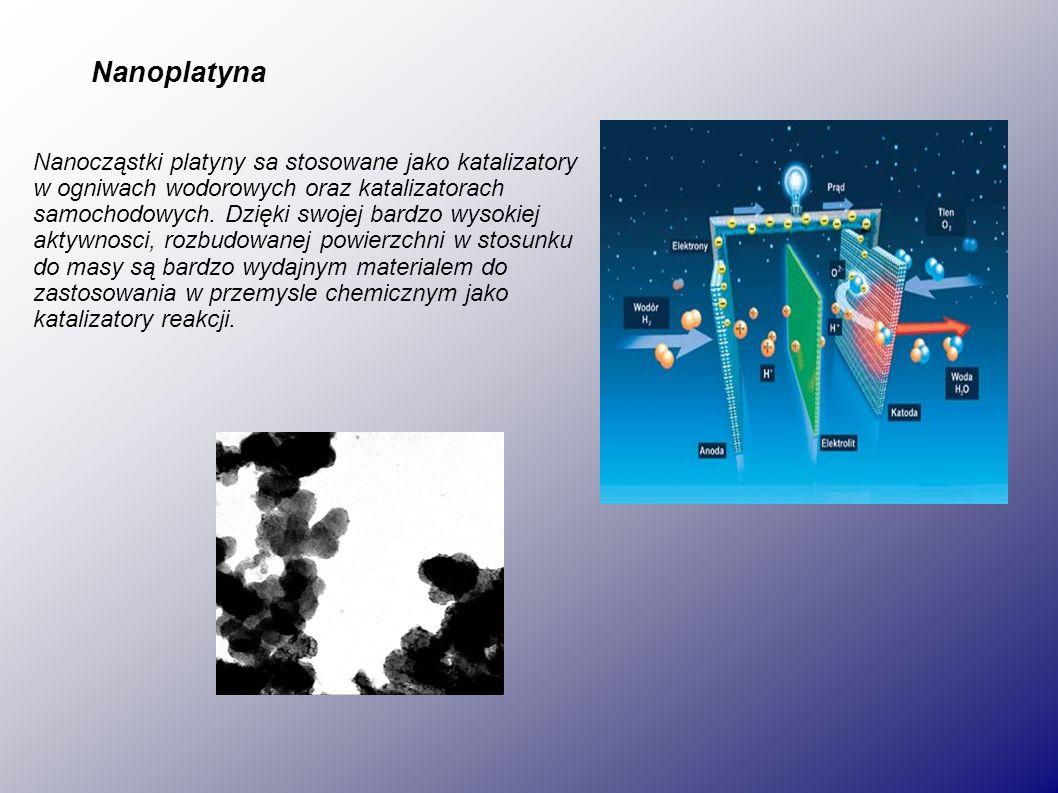 Nanoplatyna Nanocząstki platyny sa stosowane jako katalizatory w ogniwach wodorowych oraz katalizatorach samochodowych.