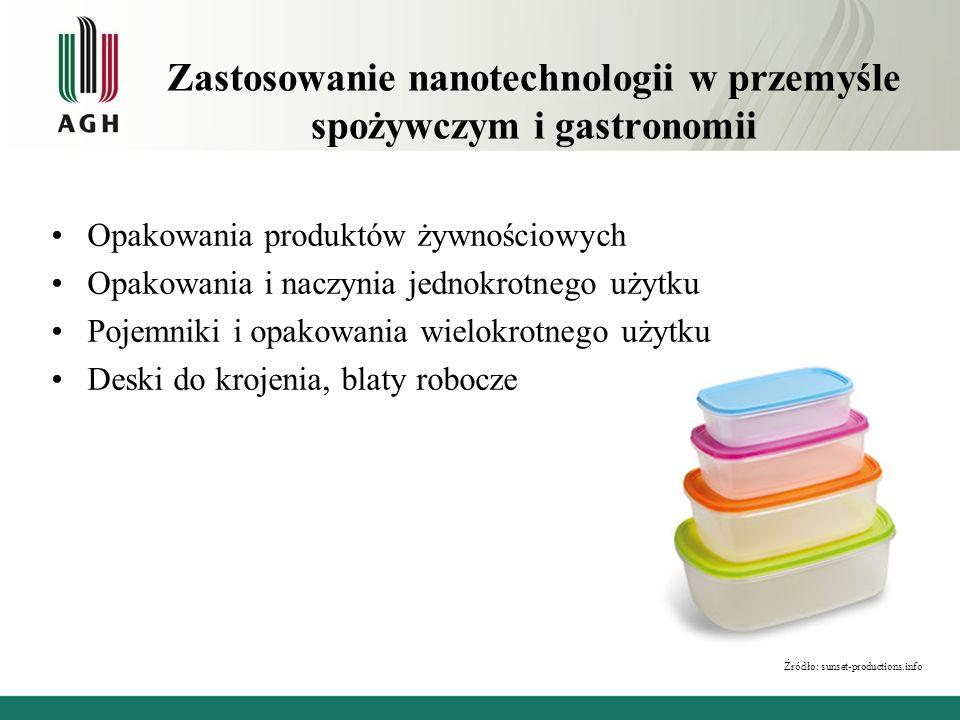 Zastosowanie nanotechnologii w przemyśle spożywczym i gastronomii Opakowania produktów żywnościowych Opakowania i naczynia jednokrotnego użytku Pojemn