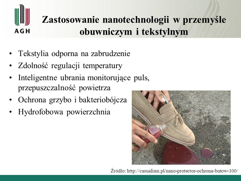 Zastosowanie nanotechnologii w przemyśle obuwniczym i tekstylnym Tekstylia odporna na zabrudzenie Zdolność regulacji temperatury Inteligentne ubrania
