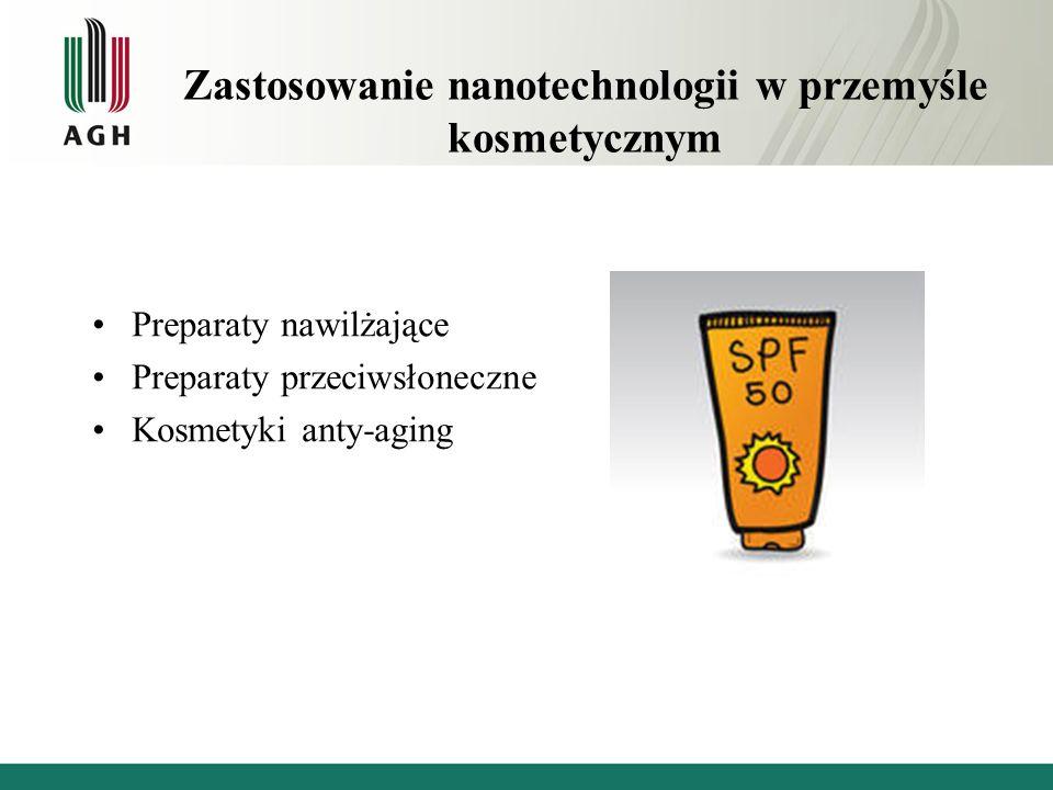 Zastosowanie nanotechnologii w przemyśle kosmetycznym Preparaty nawilżające Preparaty przeciwsłoneczne Kosmetyki anty-aging