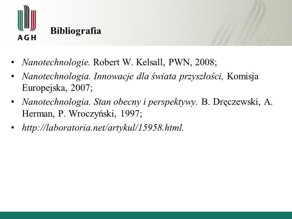 Bibliografia Nanotechnologie. Robert W. Kelsall, PWN, 2008; Nanotechnologia. Innowacje dla świata przyszłości, Komisja Europejska, 2007; Nanotechnolog