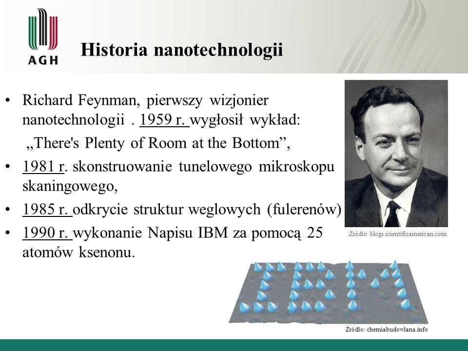 """Historia nanotechnologii Richard Feynman, pierwszy wizjonier nanotechnologii. 1959 r. wygłosił wykład: """"There's Plenty of Room at the Bottom"""", 1981 r."""