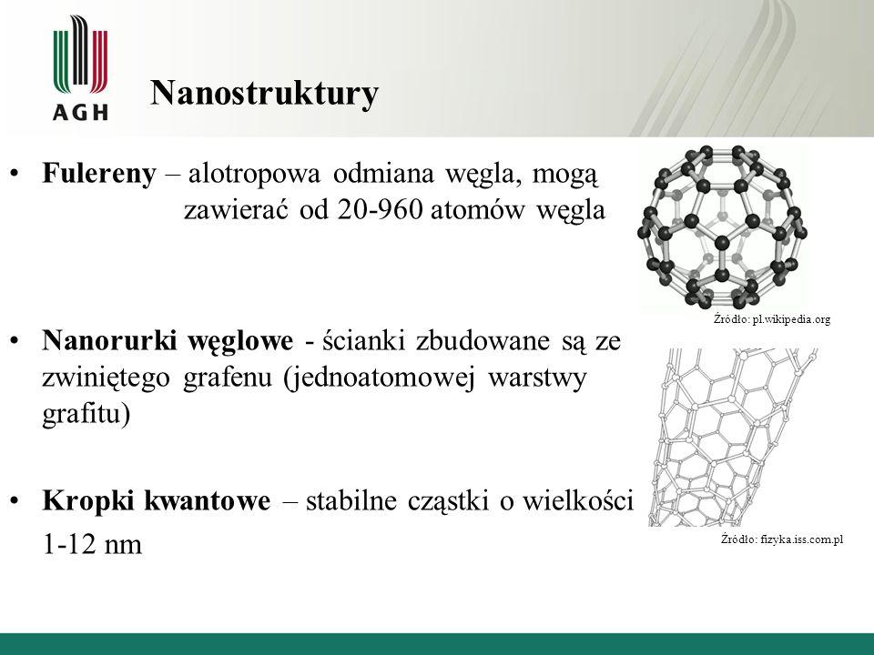 Nanostruktury Fulereny – alotropowa odmiana węgla, mogą zawierać od 20-960 atomów węgla Nanorurki węglowe - ścianki zbudowane są ze zwiniętego grafenu