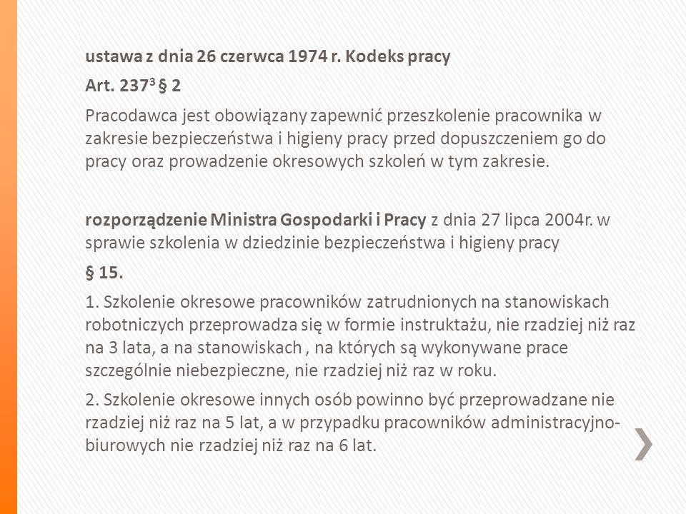 ustawa z dnia 26 czerwca 1974 r. Kodeks pracy Art.
