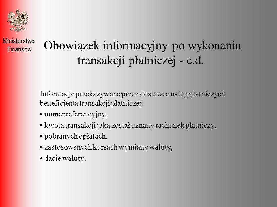 Obowiązek informacyjny po wykonaniu transakcji płatniczej - c.d.