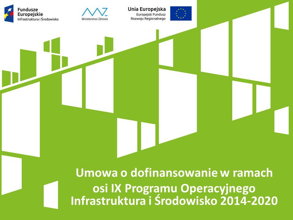 Umowa o dofinansowanie w ramach osi IX Programu Operacyjnego Infrastruktura i Środowisko 2014-2020