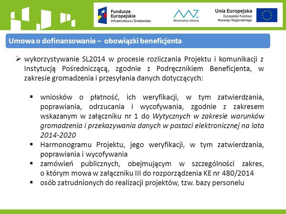  wykorzystywanie SL2014 w procesie rozliczania Projektu i komunikacji z Instytucją Pośredniczącą, zgodnie z Podręcznikiem Beneficjenta, w zakresie gromadzenia i przesyłania danych dotyczących:  wniosków o płatność, ich weryfikacji, w tym zatwierdzania, poprawiania, odrzucania i wycofywania, zgodnie z zakresem wskazanym w załączniku nr 1 do Wytycznych w zakresie warunków gromadzenia i przekazywania danych w postaci elektronicznej na lata 2014-2020  Harmonogramu Projektu, jego weryfikacji, w tym zatwierdzania, poprawiania i wycofywania  zamówień publicznych, obejmującym w szczególności zakres, o którym mowa w załączniku III do rozporządzenia KE nr 480/2014  osób zatrudnionych do realizacji projektów, tzw.