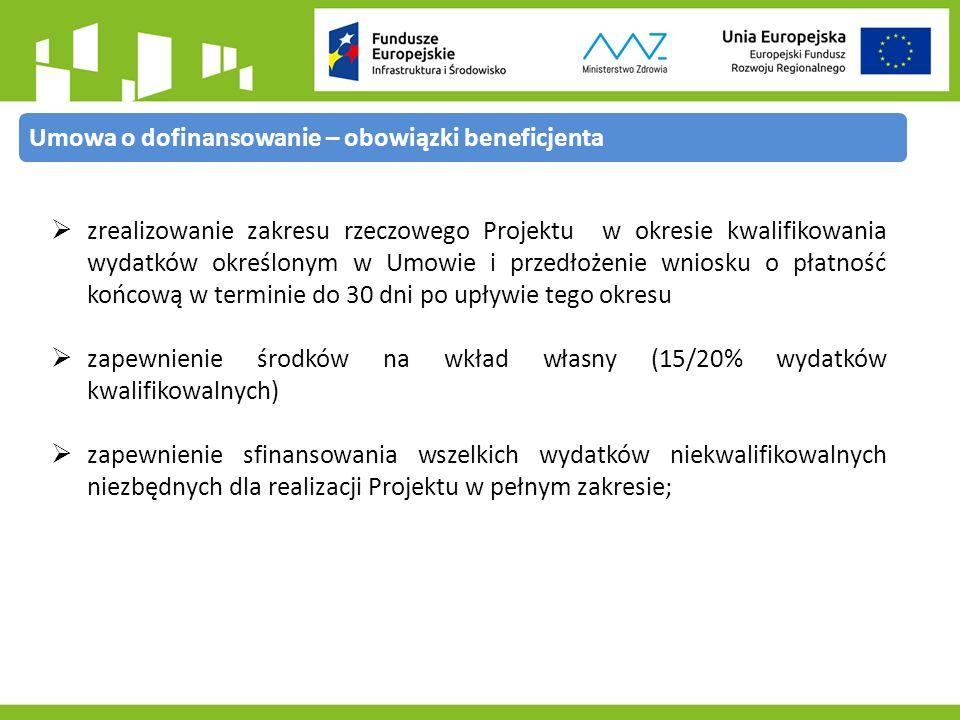  zrealizowanie zakresu rzeczowego Projektu w okresie kwalifikowania wydatków określonym w Umowie i przedłożenie wniosku o płatność końcową w terminie do 30 dni po upływie tego okresu  zapewnienie środków na wkład własny (15/20% wydatków kwalifikowalnych)  zapewnienie sfinansowania wszelkich wydatków niekwalifikowalnych niezbędnych dla realizacji Projektu w pełnym zakresie; Umowa o dofinansowanie – obowiązki beneficjenta