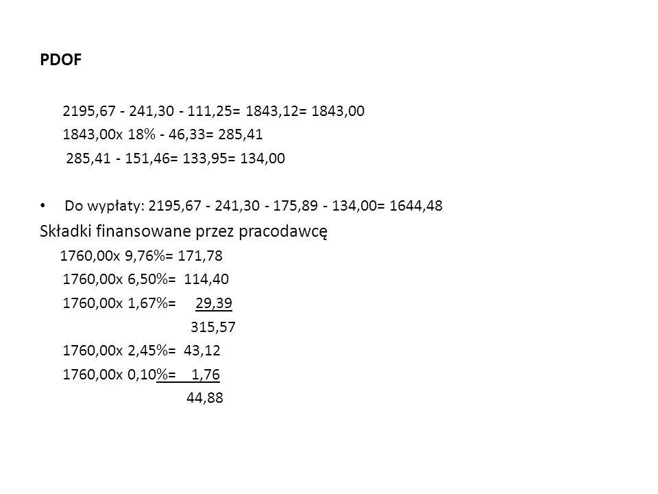 PDOF 2195,67 - 241,30 - 111,25= 1843,12= 1843,00 1843,00x 18% - 46,33= 285,41 285,41 - 151,46= 133,95= 134,00 Do wypłaty: 2195,67 - 241,30 - 175,89 - 134,00= 1644,48 Składki finansowane przez pracodawcę 1760,00x 9,76%= 171,78 1760,00x 6,50%= 114,40 1760,00x 1,67%= 29,39 315,57 1760,00x 2,45%= 43,12 1760,00x 0,10%= 1,76 44,88