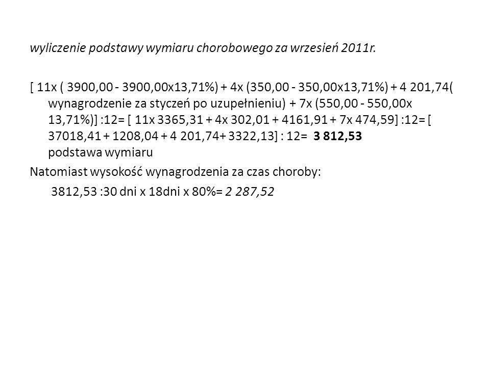 wyliczenie podstawy wymiaru chorobowego za wrzesień 2011r.