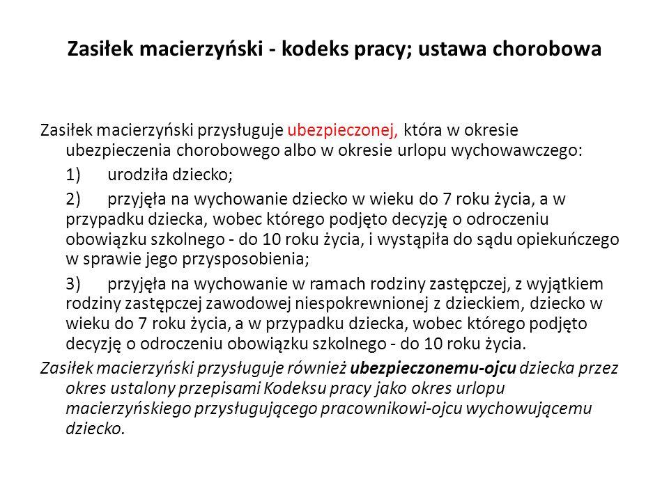 Zasiłek macierzyński przysługuje przez okres ustalony przepisami Kodeksu pracy jako okres urlopu macierzyńskiego lub urlopu na warunkach urlopu macierzyńskiego.