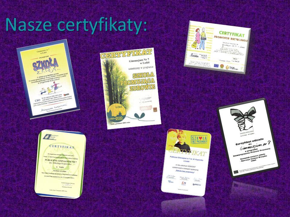 Nasze certyfikaty: