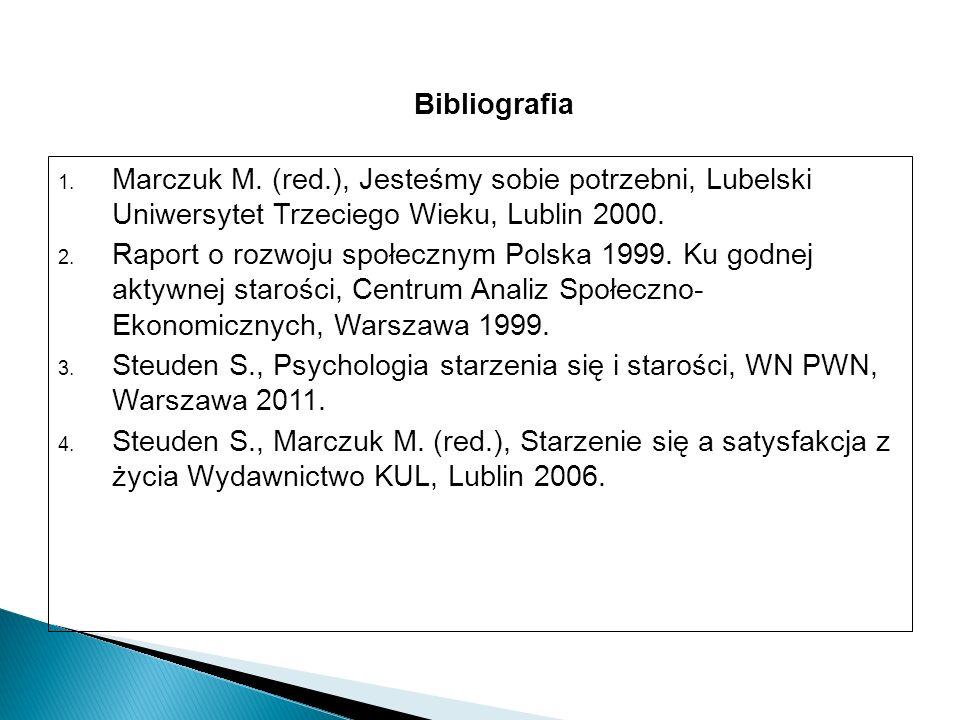 1. Marczuk M. (red.), Jesteśmy sobie potrzebni, Lubelski Uniwersytet Trzeciego Wieku, Lublin 2000.