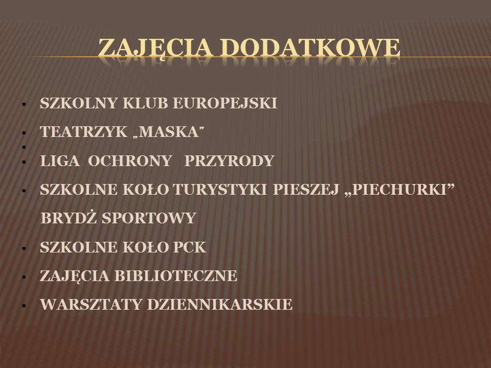 """ SZKOLNY KLUB EUROPEJSKI  TEATRZYK """" MASKA """"   LIGA OCHRONY PRZYRODY  SZKOLNE KOŁO TURYSTYKI PIESZEJ """"PIECHURKI"""" BRYDŻ SPORTOWY  SZKOLNE KOŁO PC"""