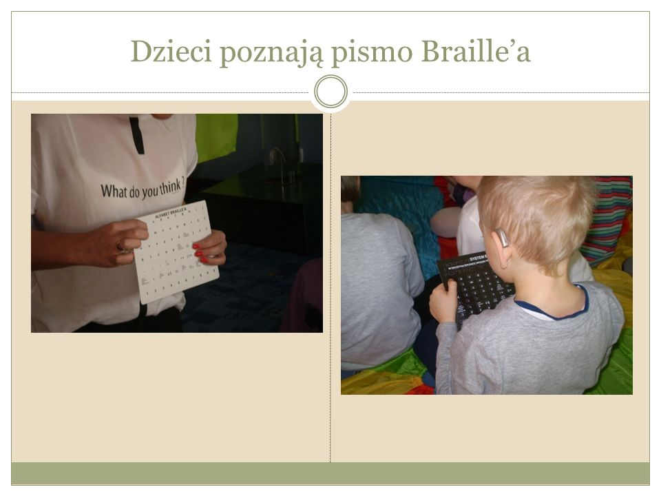 Dzieci poznają pismo Braille'a