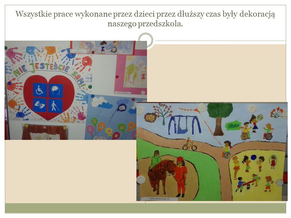 Wszystkie prace wykonane przez dzieci przez dłuższy czas były dekoracją naszego przedszkola.