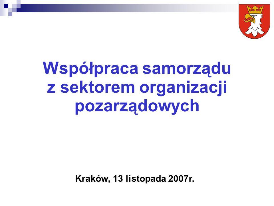 Współpraca samorządu z sektorem organizacji pozarządowych Kraków, 13 listopada 2007r.