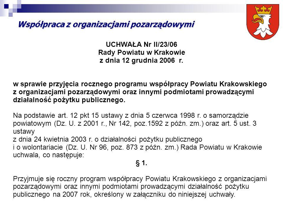 Współpraca z organizacjami pozarządowymi UCHWAŁA Nr II/23/06 Rady Powiatu w Krakowie z dnia 12 grudnia 2006 r.