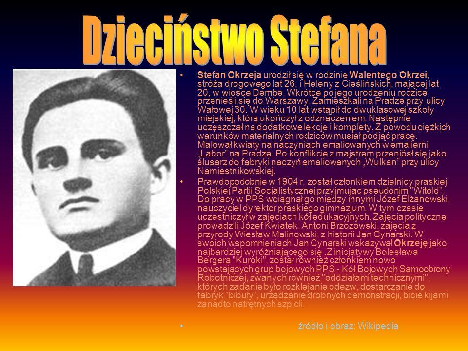 Stefan Okrzeja urodził się w rodzinie Walentego Okrzei, stróża drogowego lat 26, i Heleny z Cieślińskich, mającej lat 20, w wiosce Dembe.