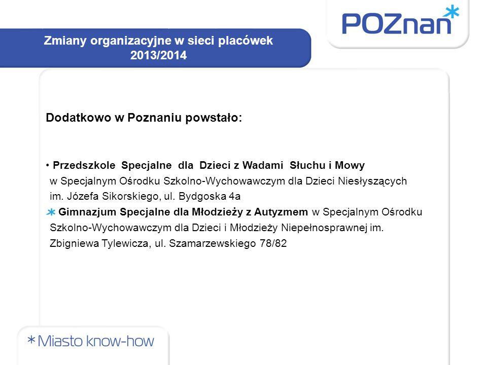 Zmiany organizacyjne w sieci placówek 2013/2014 Dodatkowo w Poznaniu powstało: Przedszkole Specjalne dla Dzieci z Wadami Słuchu i Mowy w Specjalnym Ośrodku Szkolno-Wychowawczym dla Dzieci Niesłyszących im.