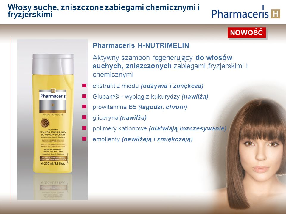 Pharmaceris H-NUTRIMELIN Aktywny szampon regenerujący do włosów suchych, zniszczonych zabiegami fryzjerskimi i chemicznymi ekstrakt z miodu (odżywia i