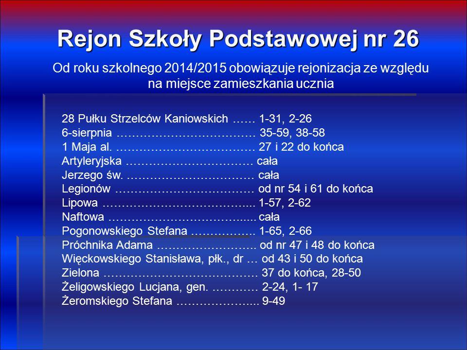 Rejon Szkoły Podstawowej nr 26 28 Pułku Strzelców Kaniowskich …… 1-31, 2-26 6-sierpnia ……………………………… 35-59, 38-58 1 Maja al.