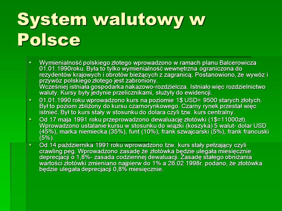 System walutowy w Polsce  Wymienialność polskiego złotego wprowadzono w ramach planu Balcerowicza 01.01.1990roku.