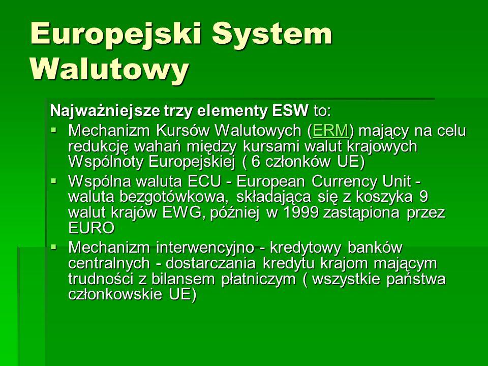 Europejski System Walutowy Najważniejsze trzy elementy ESW to:  Mechanizm Kursów Walutowych (ERM) mający na celu redukcję wahań między kursami walut krajowych Wspólnoty Europejskiej ( 6 członków UE) ERM  Wspólna waluta ECU - European Currency Unit - waluta bezgotówkowa, składająca się z koszyka 9 walut krajów EWG, później w 1999 zastąpiona przez EURO  Mechanizm interwencyjno - kredytowy banków centralnych - dostarczania kredytu krajom mającym trudności z bilansem płatniczym ( wszystkie państwa członkowskie UE)